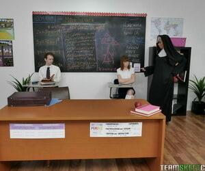 Slutty nun Lily Lane enjoying a peculiar FFM threesome adjacent to a nerdy pencil nearly variety