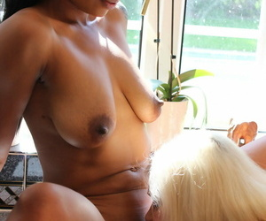 Granny Lacey Starr and hot ebony Lola Marie rub and kiss eternally others clam
