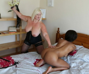 Granny Lacey Starr pricking submissive big boobed jet-black Lola Marie