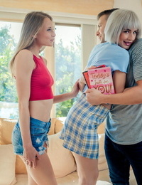 Bi-girls Kyler Quinn & Jessie Saint treat a boy to a 3some for Valentines Day