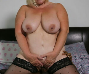 Big granny in stockings Lacey Starr sucks a BBC in front object nailed