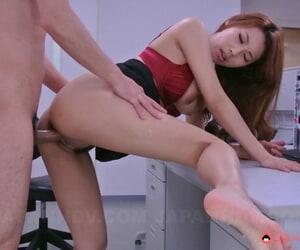 Cute Asian girl Mai Takizawa tastes a guys balls and gets rammed at work