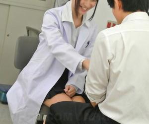 Brunette Asian doctor Tomomi Motozawa rubs say no to twat in say no to workplace