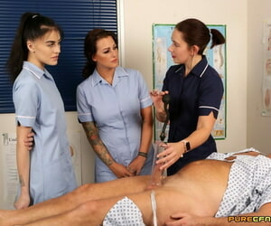 Slutty nurses Belle OHara- Jordanna Foxx & Shay London massage a patients streak