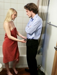 Lusty teen Lily Rader gets cleaned up and banged by her naughty stepdad
