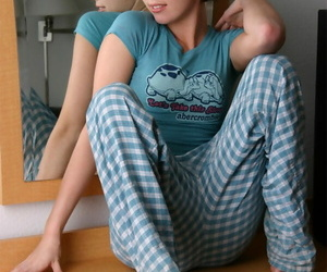 Hot young Diddylicious removes cotton pantihose roughly spread legs in tight t-shirt
