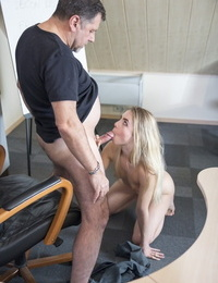 Young blonde girl Alecia Fox seduces and fucks her French tutor