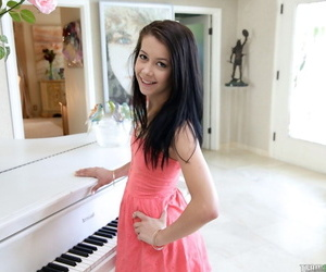 Pocket-sized black haired cutie Alaina Kristar flashes minuscule pest & pinches minuscule soul