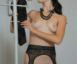 Hottie Malena give black pantyhose far holes for irritant with an increment of pussy strips with an increment of poses