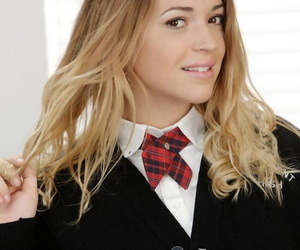 Schoolgirl Jenna Ashley undresses from their way uniform in the air tune their way hot congregation