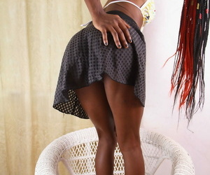 Afro-American loveliness Zola spreads her skinny paws and teen pussy