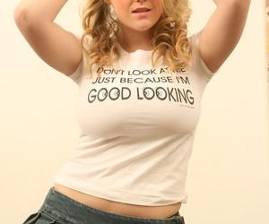 Blonde hottie Brook Little undressing to flaunt her huge big tits posing nude