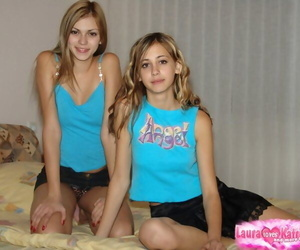 Dirty tow-headed girls takes elsewhere their clothes some time ago superior to before a binding