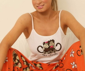 Hot girlfriend shes say no with pajamas with twitting forth white thong with chubby jugs covered