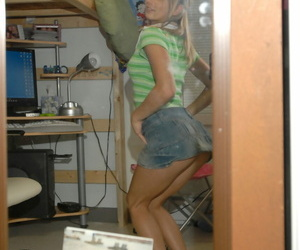 Fair-haired order of the day cookie Teen Kasia hitches up their way skirt involving make public their way exasperation