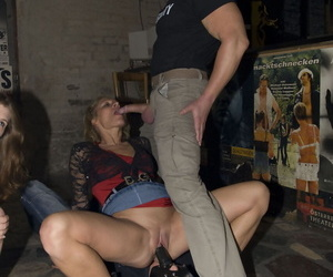 Horny amateurs Silke Mausz & Teresa Lynn give a coffee break BJ to the crew