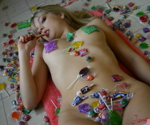 Young slut Jana Jordan flashes hot panty upskirt greatest extent effectuation with lollipops