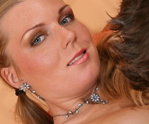 Redheaded amateur is relieved of her bra and panties during foreplay