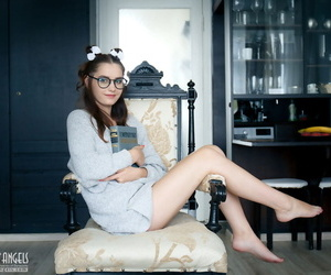 Nerdy teen Sanija cups her firm tits at the similar to one another her conscientious ass and overt slit