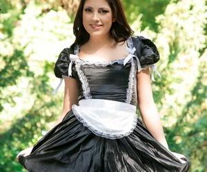 Hired help Miranda Miller doffs maid uniform for outdoor blowjob & hard anal