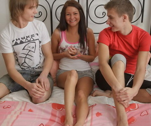 Petite brunette teen Ilina sports anal gape after sex with 2 of her boyfriends