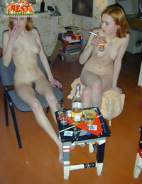Redhead stepsisters with hairy twats get drunk after getting naked