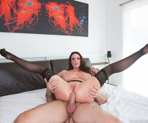 Busty beauty Angela White takes a big hard cock up the ass and shows anal gape