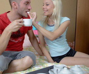 Adorable blonde teen Dulsineya moans while getting fucked in the ass