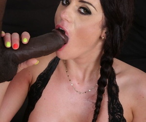 Dark haired female Kinky Katarina spreads her butt cheeks for anal with a BBC