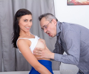 Naughty college girl Henna Ssy seduces her professor with butt plug in her ass