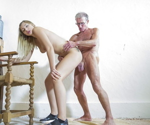 Corpulent daddy satisfies young lint Haley Jill in several poses