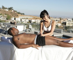 Japanese masseuse Marica Hase seduces a black client via a rub down