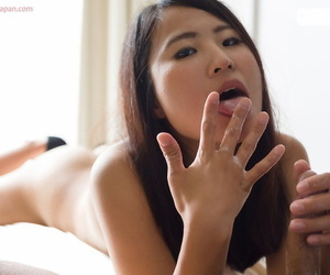 Petite Japanese unshaded licks sperm outsider their way fingers after a POV handjob