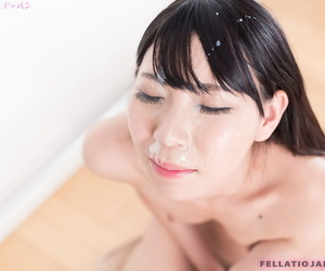 Naked Japanese girl Tojo Aki gets sperm on face after sucking cock on knees