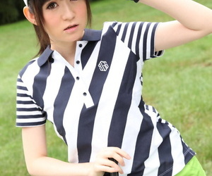 Gorgeous Japanese sports girl flashing sexy panty upskirt on the golf links