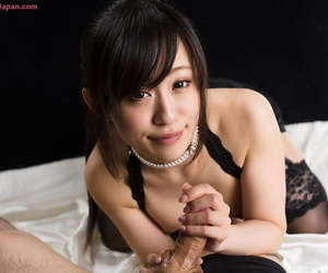 Cute tiny Japanese girl plays there her BFs cock until it squirts for a kinship