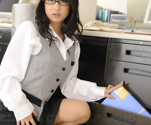 Beautiful Japanese office lady Satomi Suzuki displays her boobs at work place