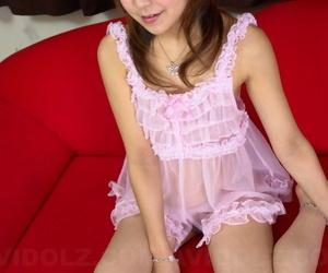 Cute Japanese teen Shiori Himemiya models barefoot in curt unmentionables