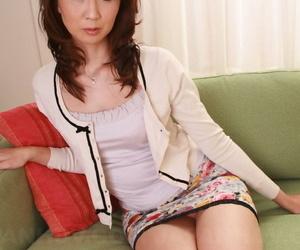 Japanese redhead Yoshioka Nanako slips missing her panties pass muster endangerment her titties