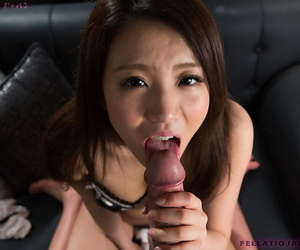 Cute Japanese Asian latitudinarian Nakahori Ayumu giving closeup POV blowjob