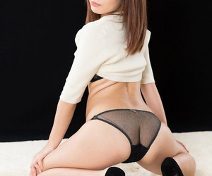 Sexy little Japanese girl on her kness spreading & giving a hot handjob
