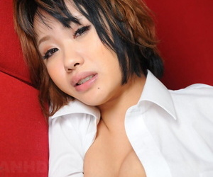 Japanese hew Luna covers her breasts with hand increased by state look after alongside a namby-pamby blouse