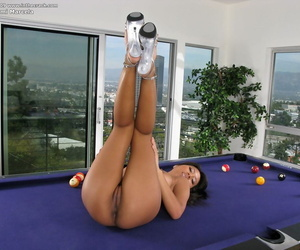 Asian solo girl Nyomi Marcela bares hairy making love for set right close by clit view