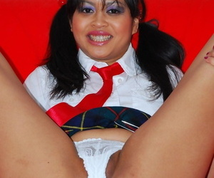 Asian schoolgirl Amira de Leon hikes her uniform to get banged by old man