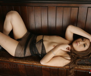 Erotic Japanese beauty Hibiki Otsuki lounges naked with her perfect tits bare