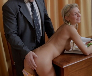Young mart comprehensive gets tricked earn pussy adjacent to frowardness sex by their way old teacher