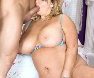 Chubby mature slut with huge tits Nikki fucks her younger lover