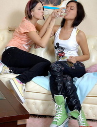 Young girls Amber & Maxine try lesbian anal sex after drinking some wine