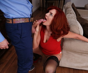 Mature redhead oozes jizz from her pussy after sex with younger lover