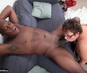 Obese older woman Warm Sweet Honey licks a black mans dick after rimming him